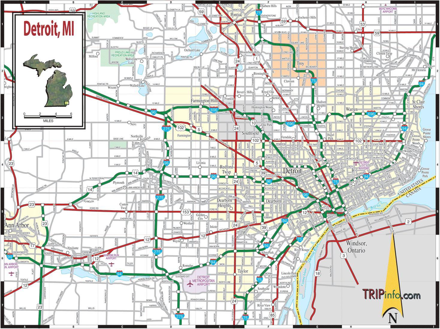 Detroit Michigan Mapa Mapa De Detroit Michigan Michigan EUA - Mapa de michigan