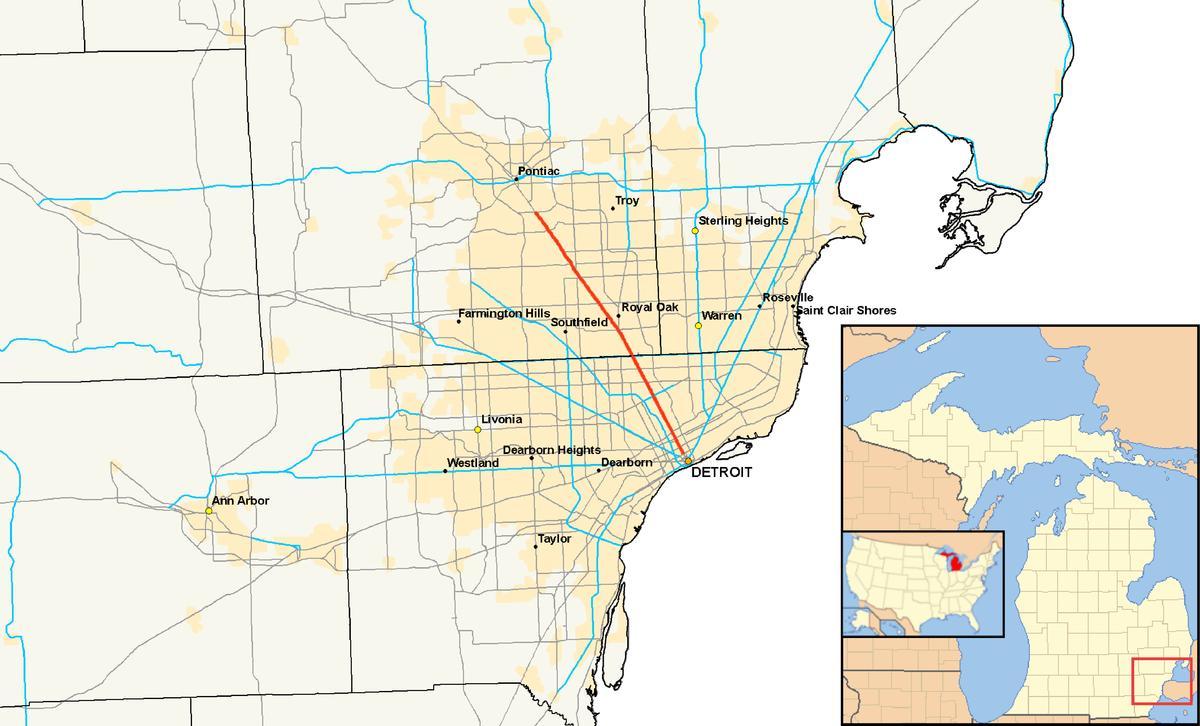 Detroit Subúrbio Mapa De Detroit Municípios Mapa De Michigan EUA - Mapa de michigan